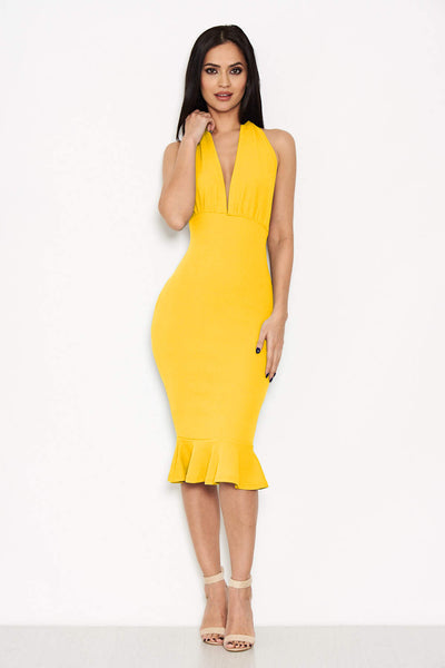 Yellow Backless Fishtail Midi Dress