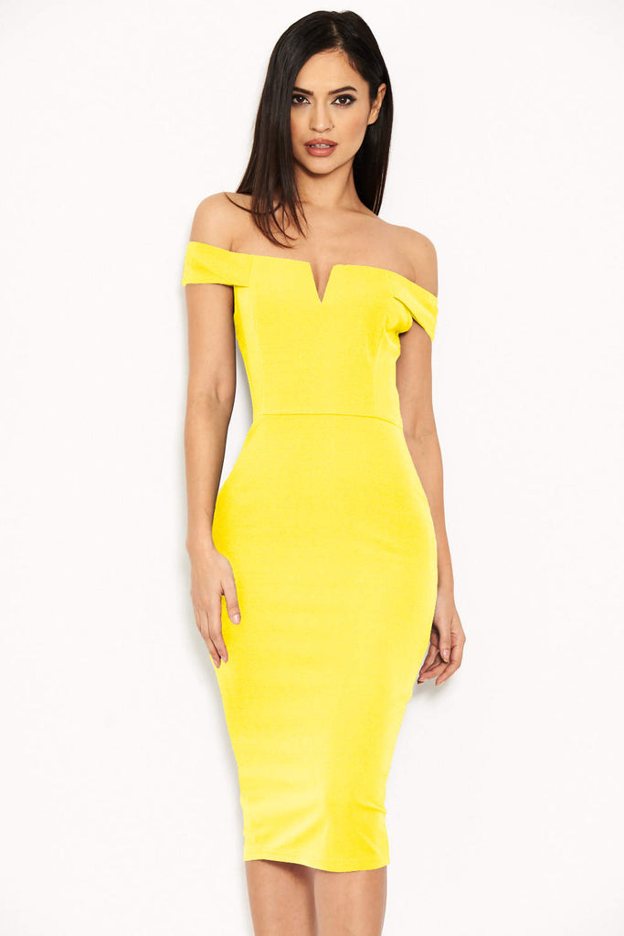 Yellow Bardot Bodycon Dress