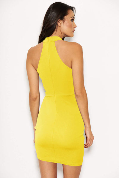 Yellow Bodycon High Neck Ruched Dress