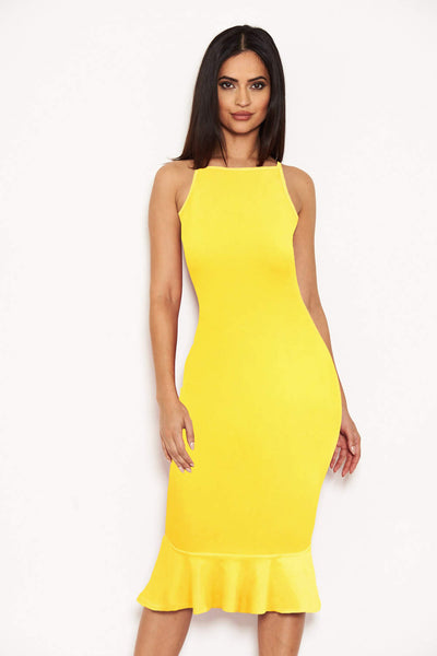 Yellow Bodycon Midi Dress With Frill Hem