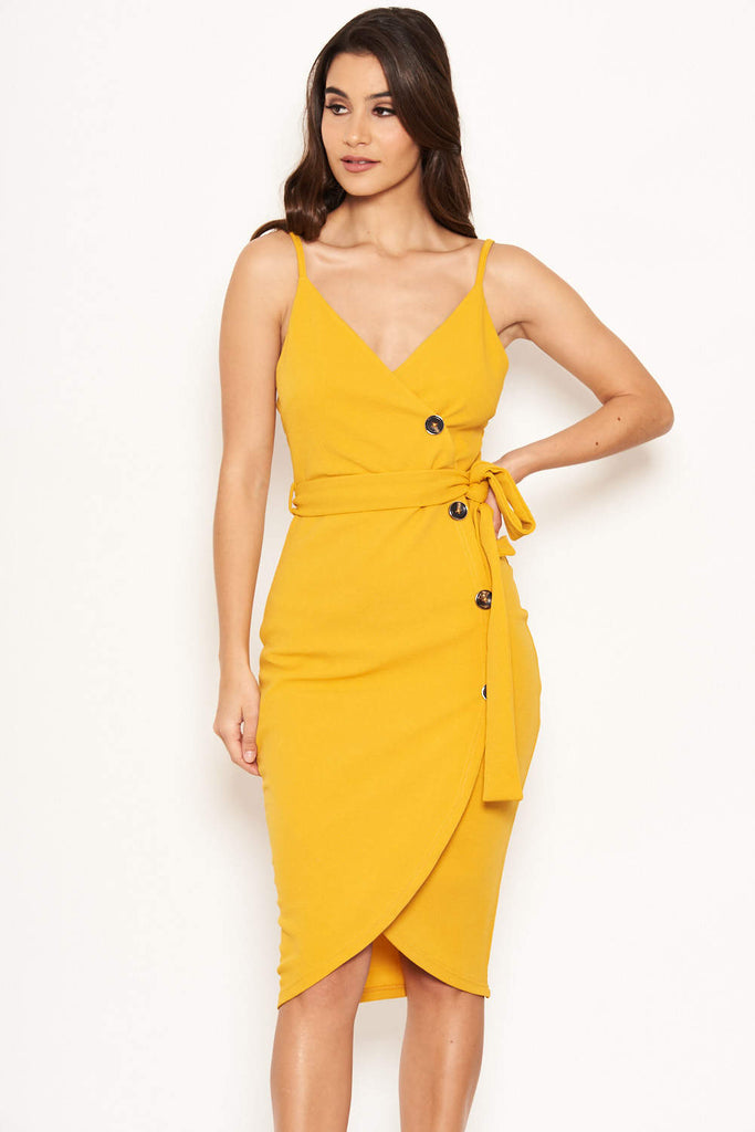 Yellow Button Front Detail Dress