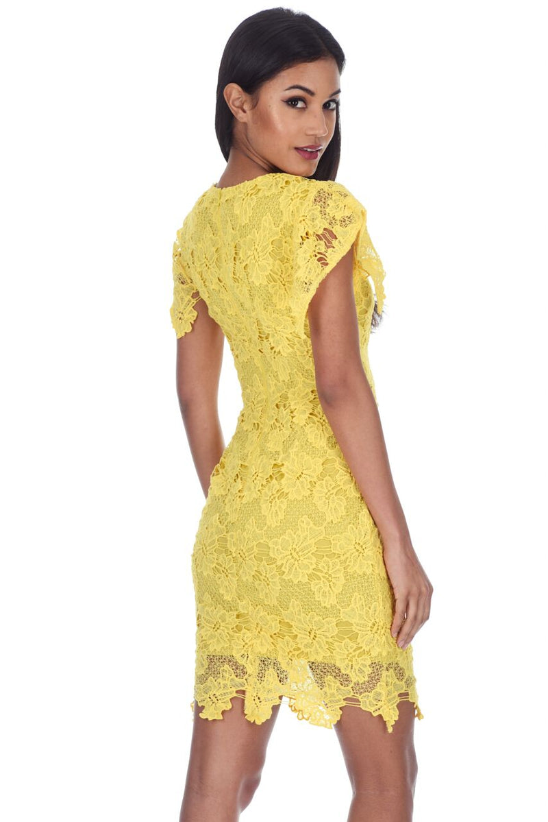 Yellow Crochet Midi Dress