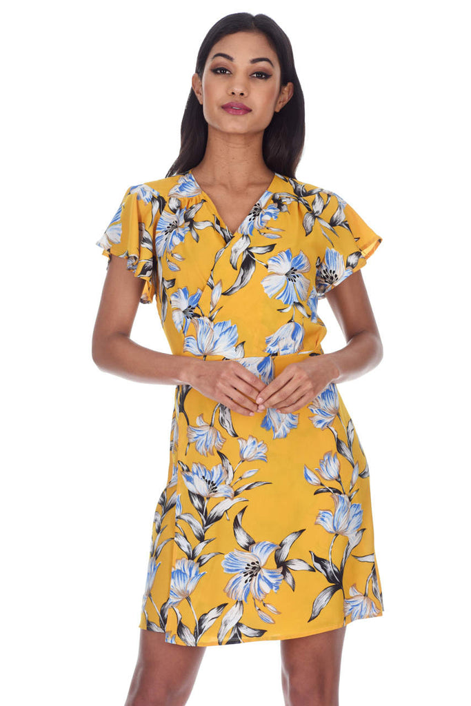 Yellow Floral Wrap Dress With Ruffled Sleeves
