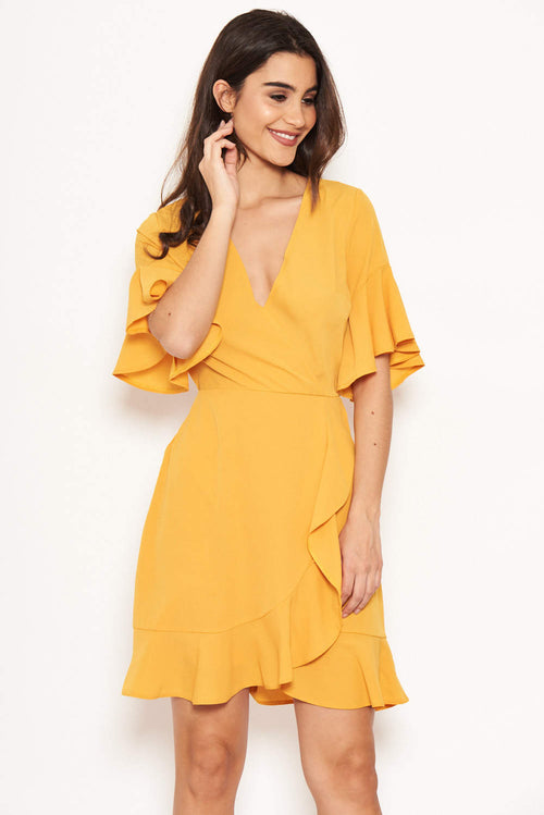8405054a348 Yellow Frill Detail Wrap Dress