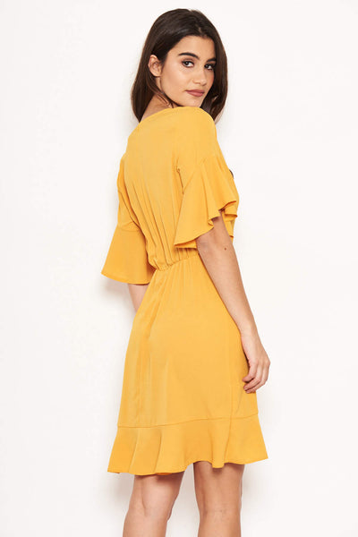 Yellow Frill Detail Wrap Dress