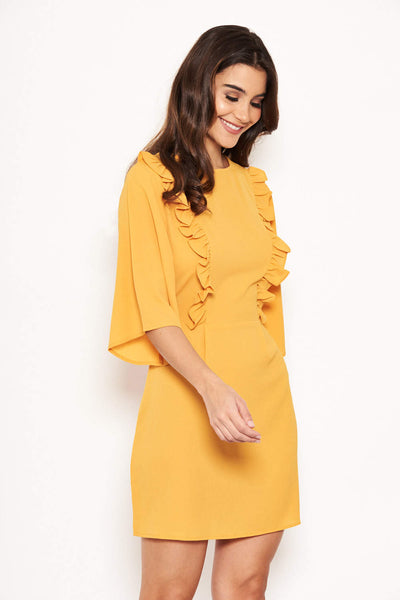 Yellow Frill Front Dress