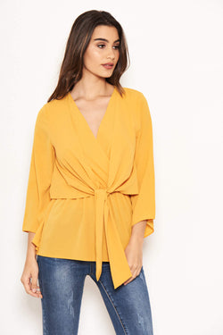 Yellow Front Tie Top