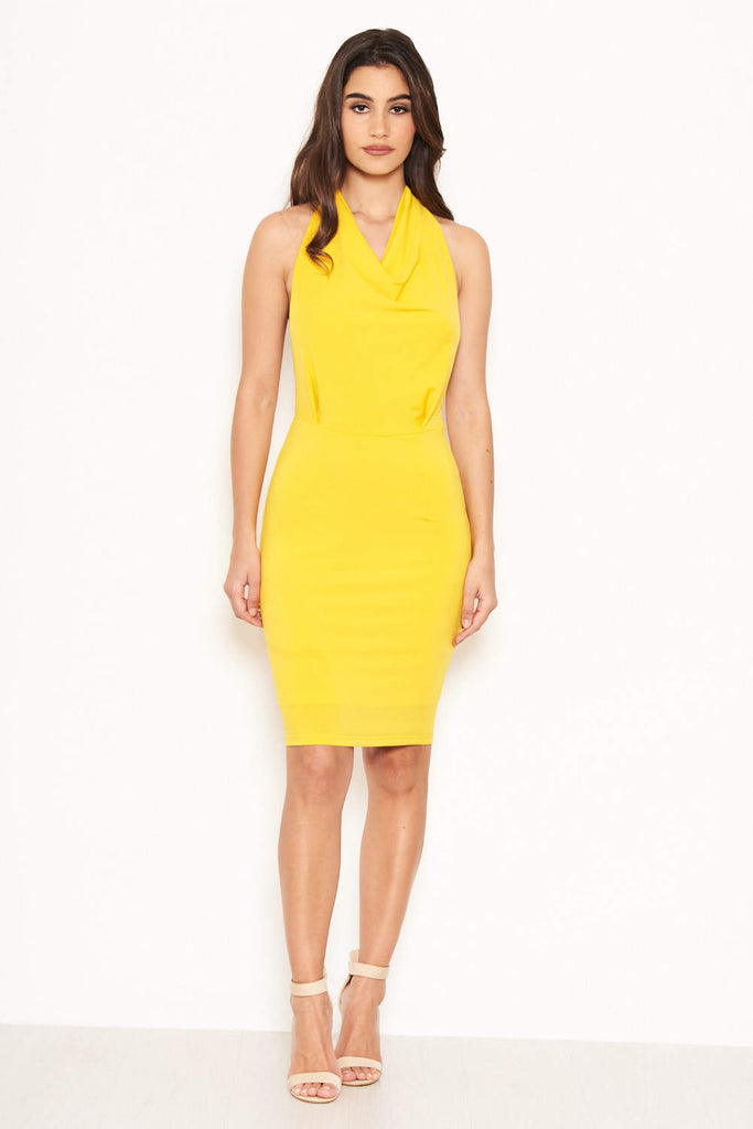 Yellow Halterneck Cowl Dress