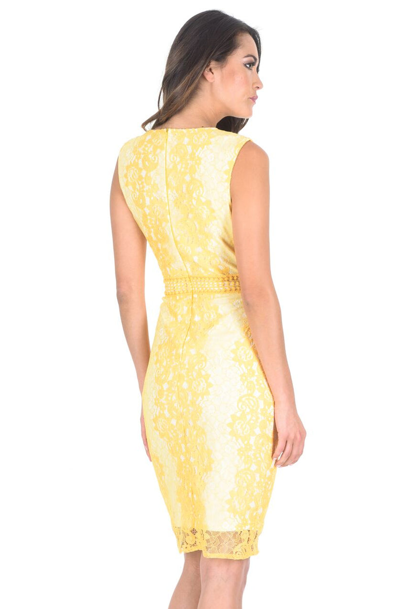 Yellow Lace Bodycon Dress