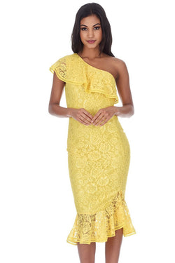 Yellow Lace One Shoulder Frill Detail Midi Dress