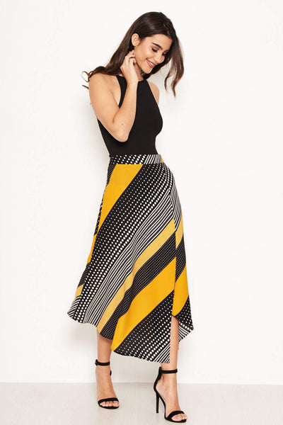 Yellow Multi Print Midi Skirt