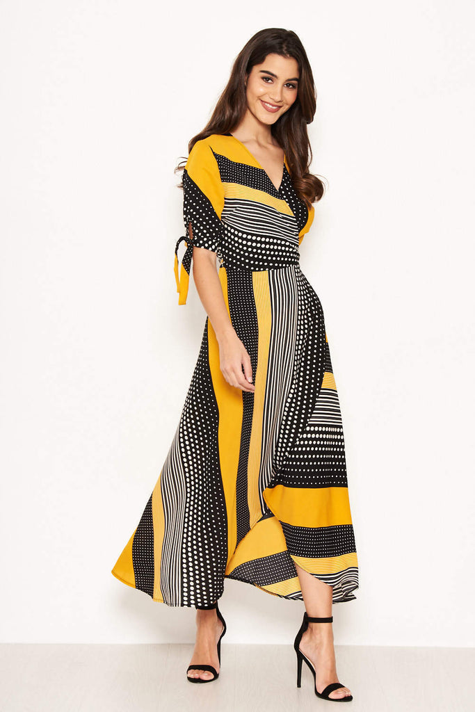 Yellow Multi Print Wrap Dress