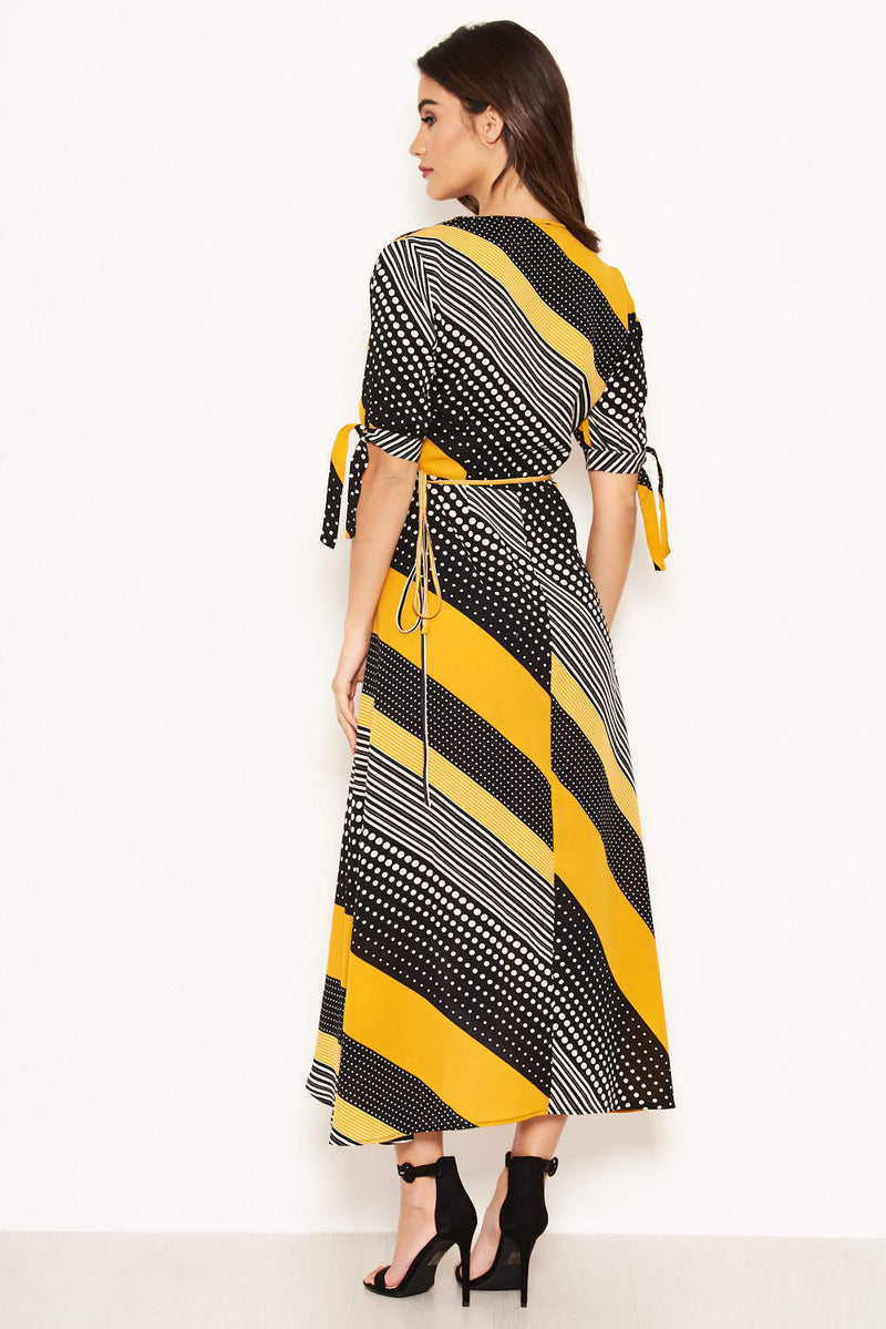 Yellow Multi Print Wrap Maxi Dress