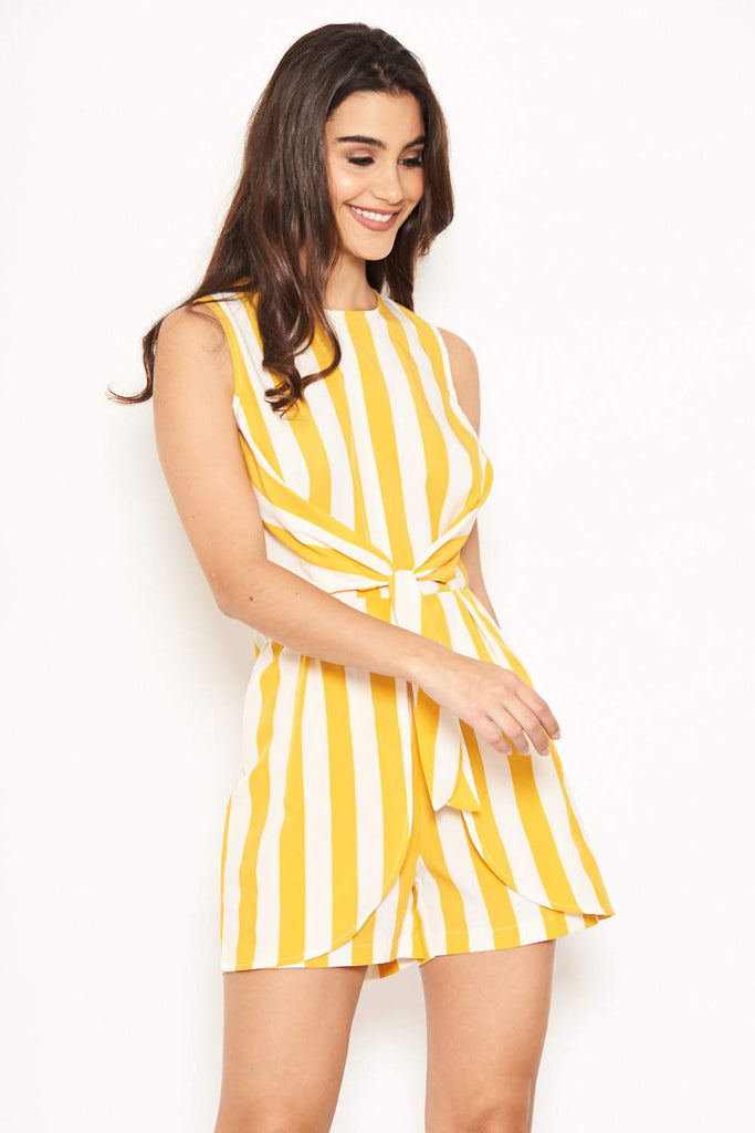 Yellow Striped Knot Front Playsuit