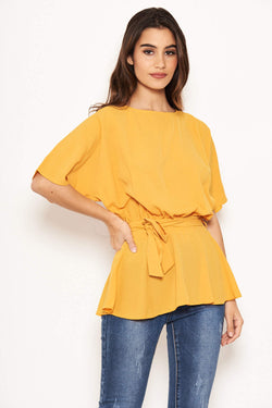 Yellow Tie Belt Top