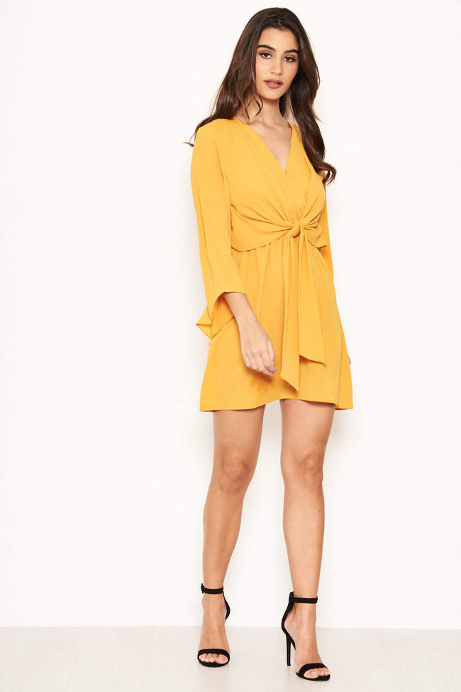 7f13b5567032 Yellow Tie Front Day Dress