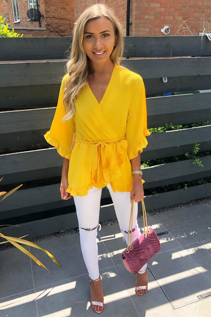 Yellow Wrap Frill Top
