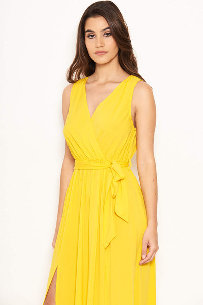 Yellow Wrap Front Maxi Dress