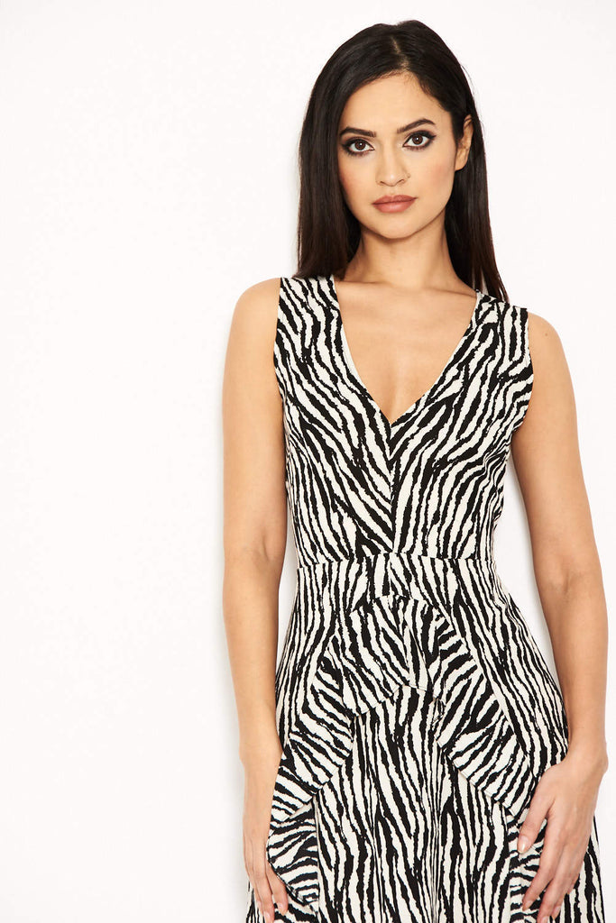 Zebra Animal Print Midi Dress