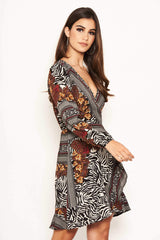 Zebra Multi Print Wrap Dress