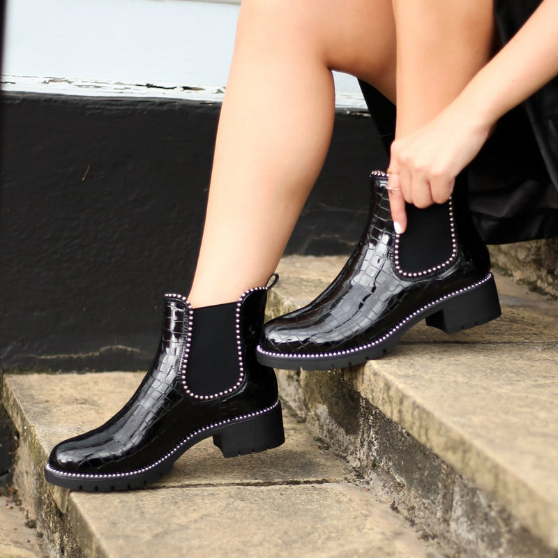 ALANNA - Black Croc Patent Classic Chelsea Boot With Studded Detail