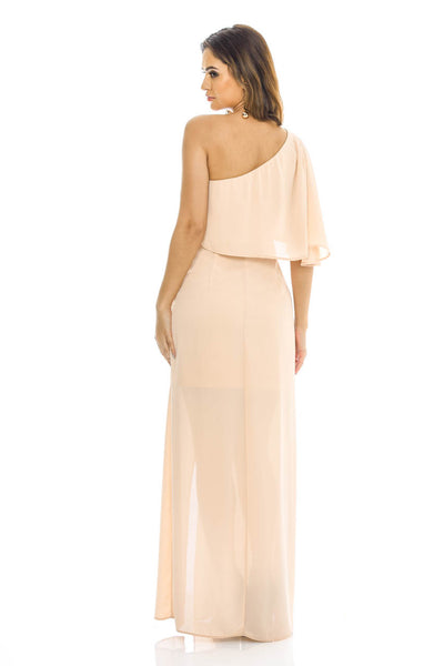 Nude One Shoulder   Maxi Dress