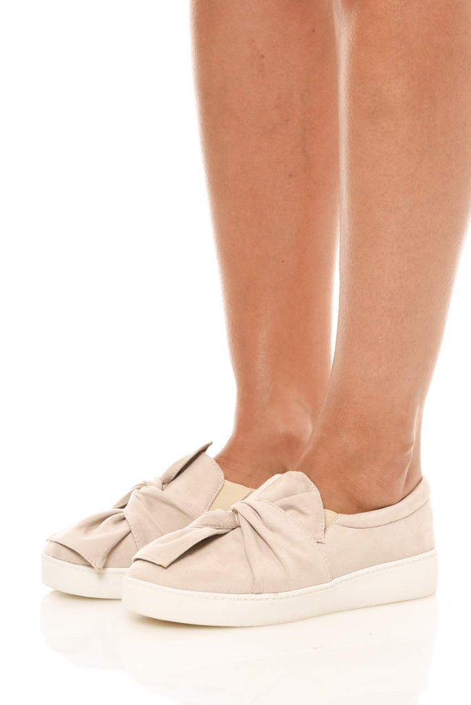 Beige Twisted Knot Suede Flats