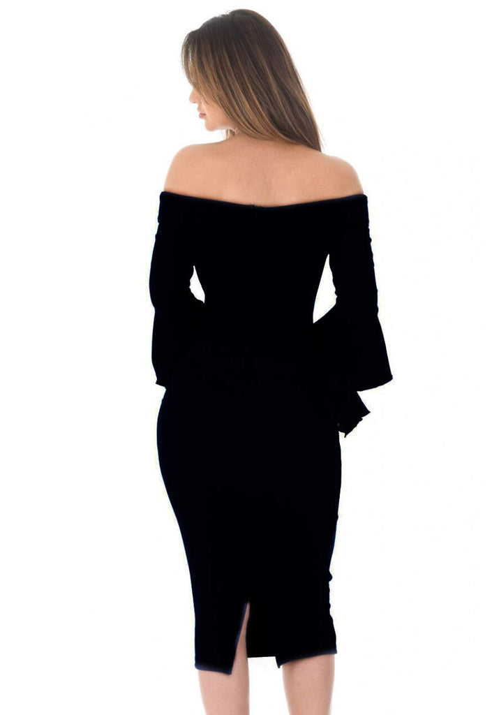 Black Notch Front Frill Sleeve Midi Dress