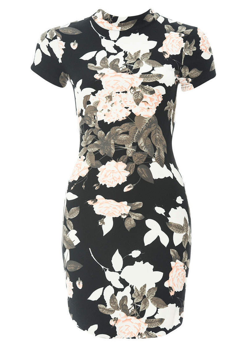 Black Printed Capped Sleeve Bodycon Dress