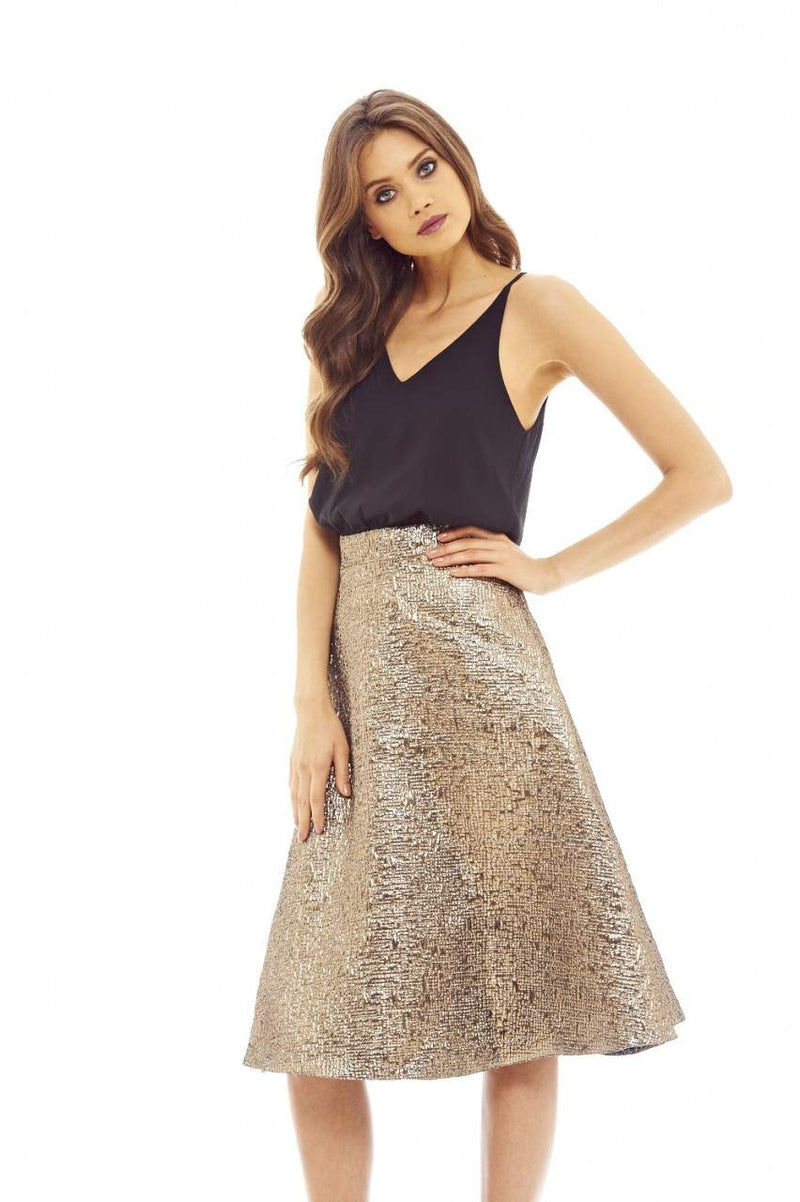 BlackGold 2-In-1Metallic Skater Dress