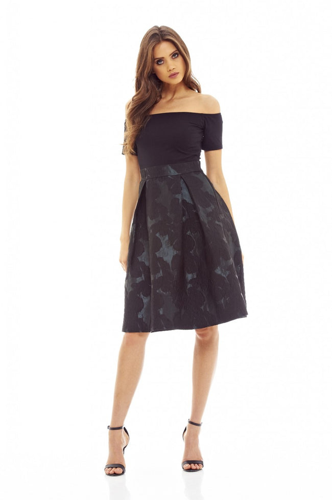 Black/Green  2-In-1 Midi Skater Dress