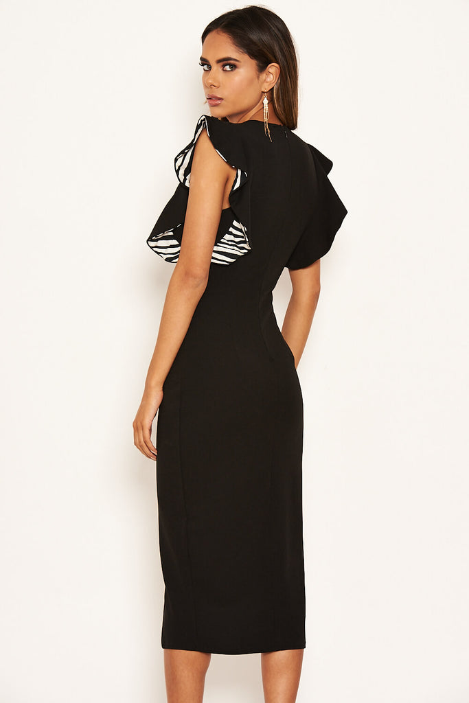 Black Zebra Frill Sleeve Midi Dress