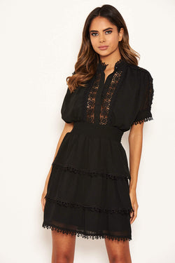 Black Crochet Detail Tiered Dress