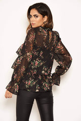 Black Floral Sheer Frill Long Sleeve Top