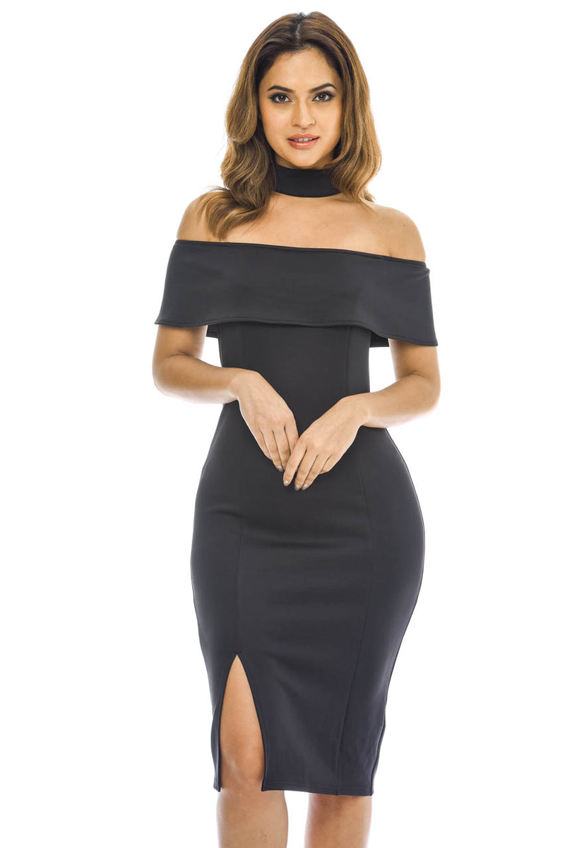 Black Strapless Midi Dress with Choker Detail