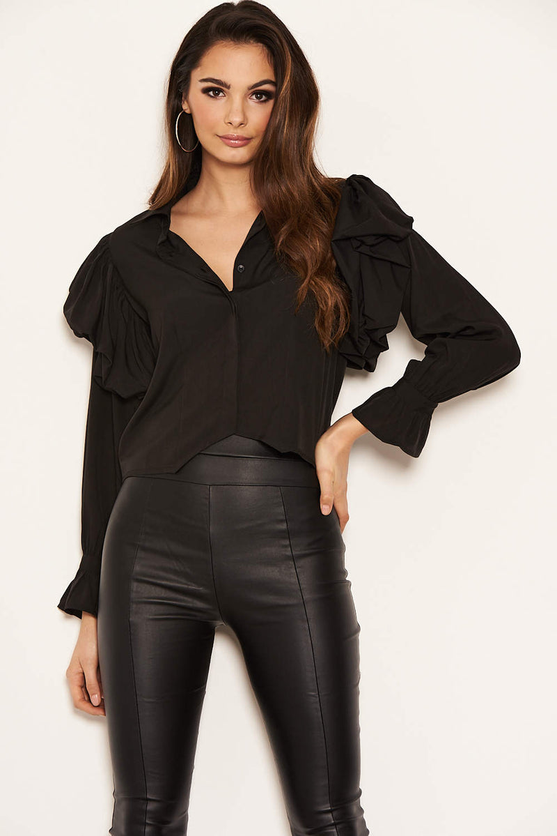 Black Cropped Frill Sleeve Shirt