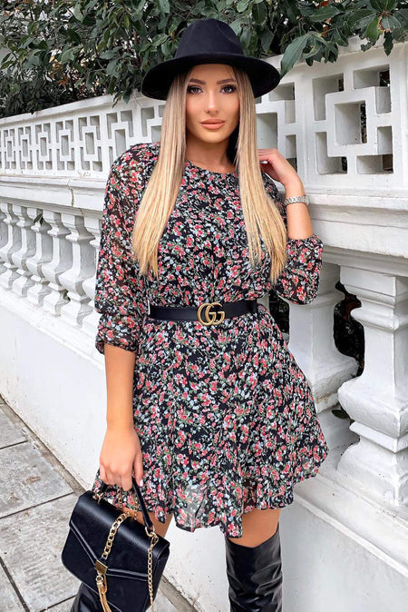 Black Floral Printed Puff Sleeve Ditsy Dress