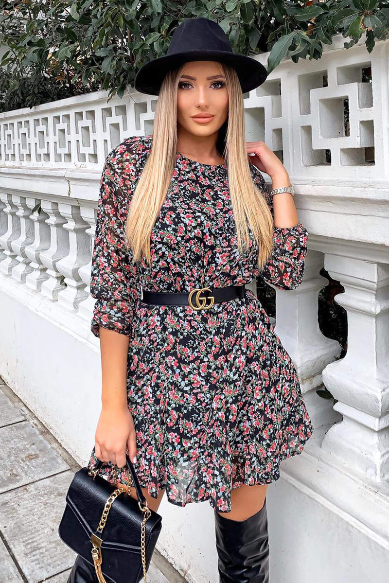 Black Chiffon Ditsy Floral Dress