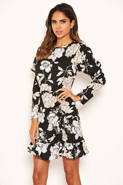Black Floral Print Long Puff Sleeve Dress