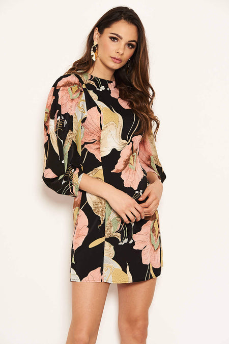 Blue Floral Print Tie Neckline Long Sleeve Dress