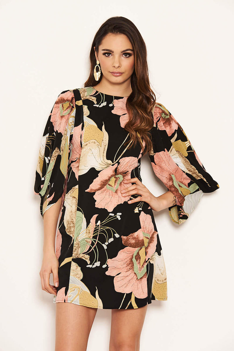 Black Floral Sleeve Detail Dress