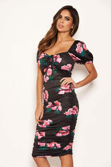 Black Rose Printed Ruched Tie Neck Midi Dress