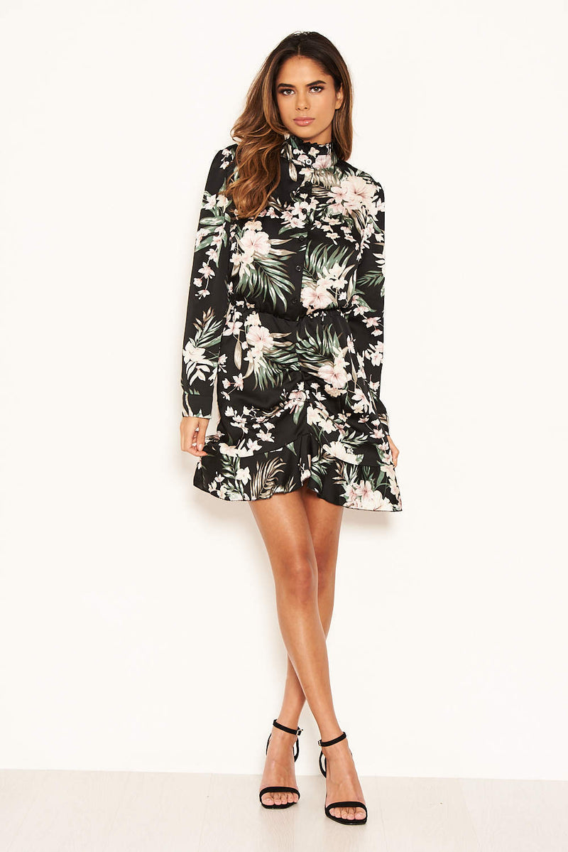 Black Floral Frill Shirt Dress