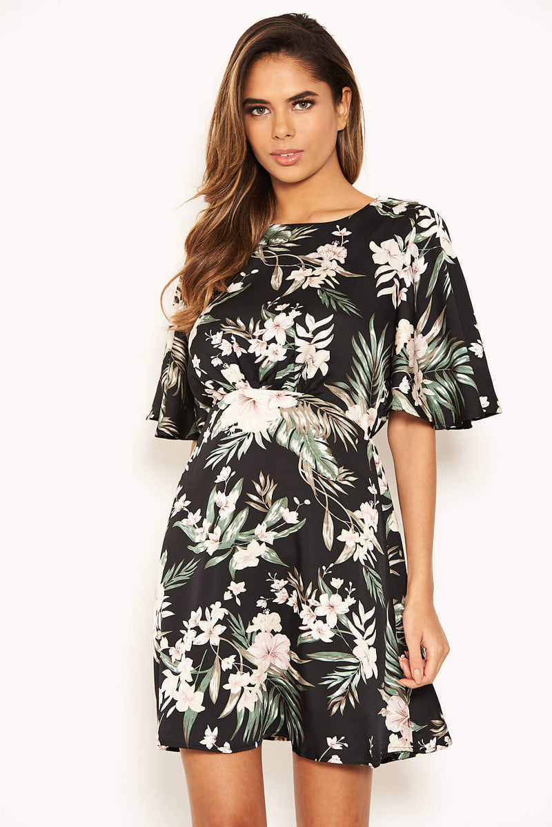 Black Floral Flute Sleeve Dress