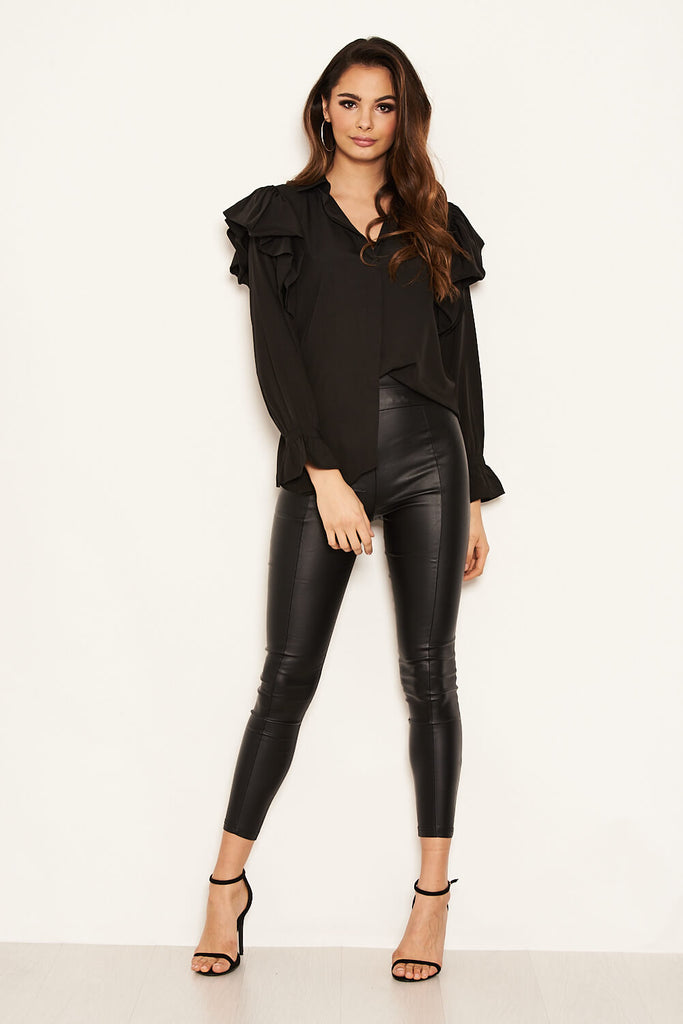 Black Frill Detail Shirt