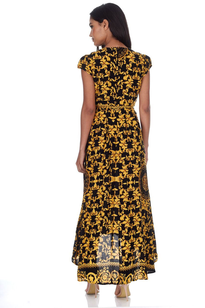 Black And Gold Patterned Wrap Over V Neck Dress