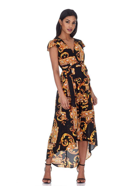 Black and Gold Patterned Wrap Over Tie Waist Belt Dress