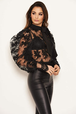 Black Embroidered Puff Sleeve Tie Neck Top
