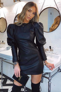 Black Faux Leather Bodycon Mini Dress