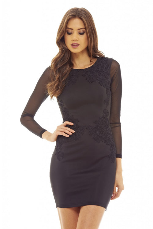Black Lace Feature  Bodycon Dress